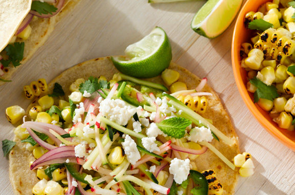 Charred Corn Tacos with Radish-Zucchini Slaw