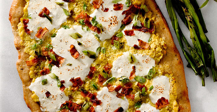 Cheesy Corn Pizza with Bacon and Scallions