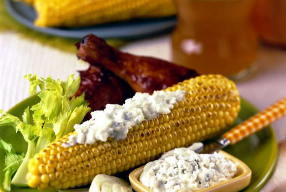 Spicy Buffalo Corn with Blue Cheese Slather