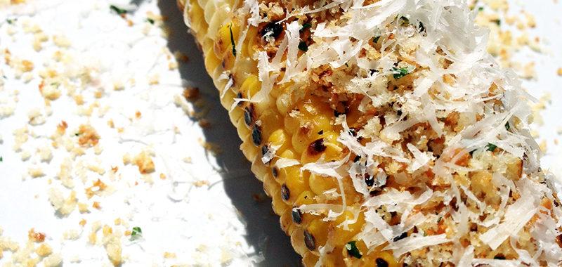 Grilled Sweet Corn w/ Toasted Garlic Panko & Parmesan