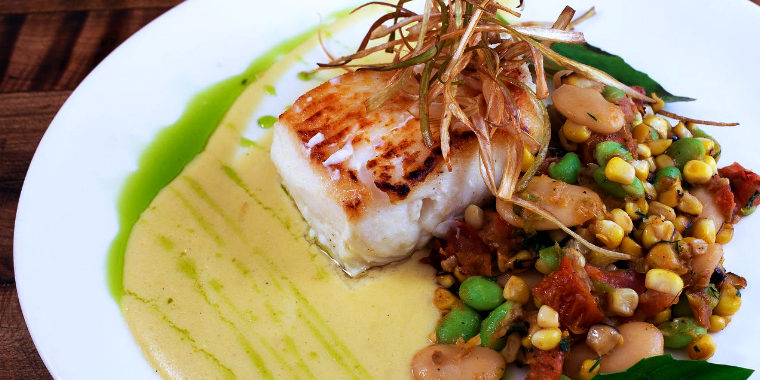 Grilled Swordfish over Sweet Corn Succotash with Corn Brulée