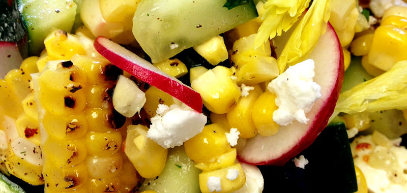 Sweet Corn, Feta and Marinated Cucumber Salad