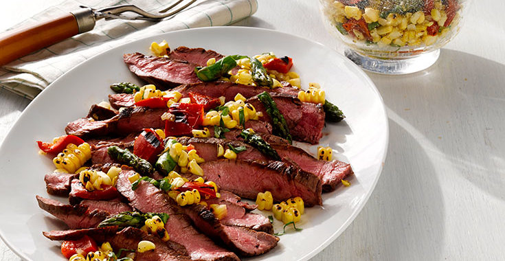 Fresh Corn Salad with Asparagus, Red Peppers and Grilled Flank Steak