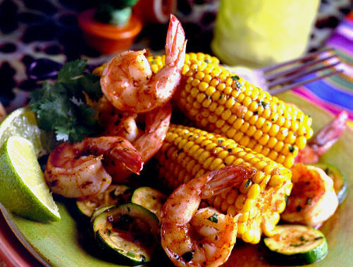 Mexican Corn and Shrimp Skillet