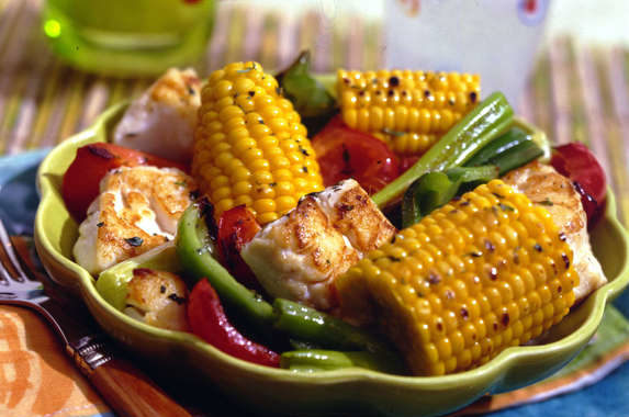 Roasted Jerk Fish and Corn
