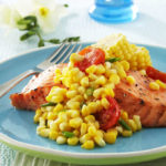Sweet Corn and Tomato Sauté with Grilled Salmon