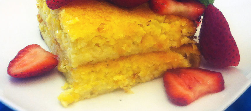 Sweet Corn Pudding with Macerated Strawberries